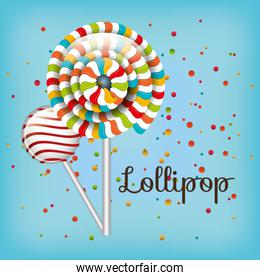lollipop spiral colors and confetti with blue background