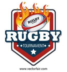 rugby label ball with flames design