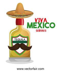 bottle tequila with hat and moustache mexico graphic