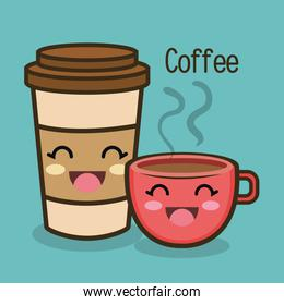 cartoon cup coffee facial expression graphic