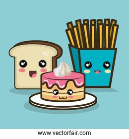 fast food cartoon cake bread and fries design graphic