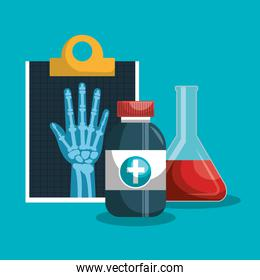 set medical services. clipboard with medicine and tube test design isolated