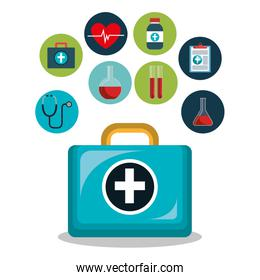 kit icons of healthcare medicine
