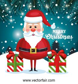 merry christmas card santa and gift with snow design