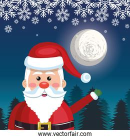 card greeting santa with night landscape, snowflake