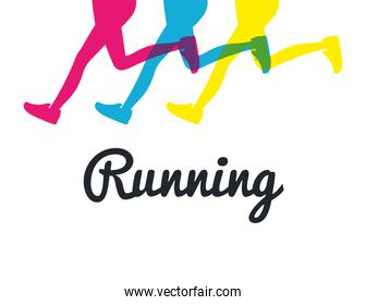 silhouette legs running colored graphic