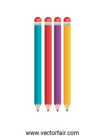 pencil four colored icons flat isolated