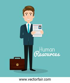 man character with portfolio and curriculum human resources