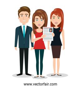 women man cv standing, human resources