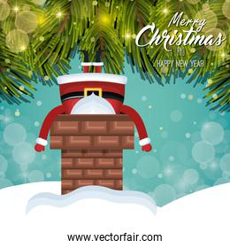 card christmas santa stuck in chimney. tree shine. design graphic