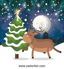 reindeer and tree snow landscape night with snow