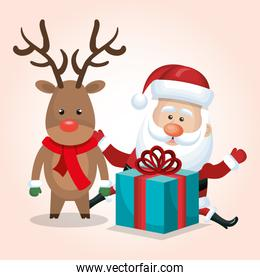 santa claus reindeer gift merry christmas isolated