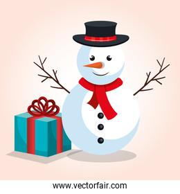 snowman and gift blue bow design isolated