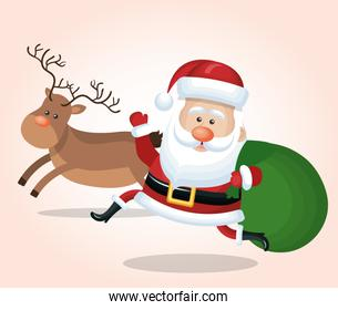 cheerful santa claus with reindeer and bag gift design isolated