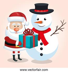 happy snowman and snta claus with blue gift ribbon isolated