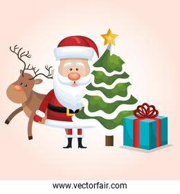 christmas santa claus reindeer tree and gift