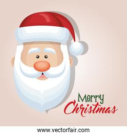 cute cartoon face santa claus merry christmas card design