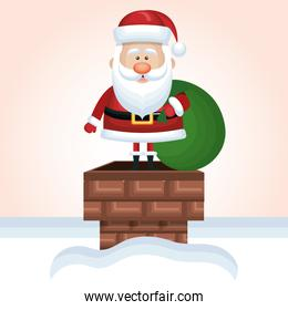 santa claus up chimney with bag gift snow design graphic
