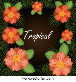 tropical flowers garden background