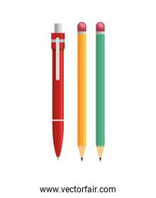 pen and pencil office supplies isolated icon