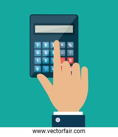 hand using calculator math device isolated icon