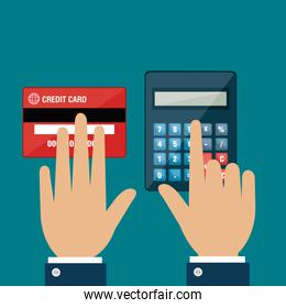 hands using  calculator and credit card