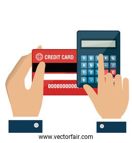 hand with calculator and credit card