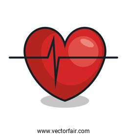 heart with pulse line isolated icon