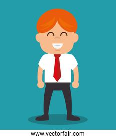 successful businessman with growth icon