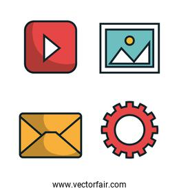 media player flat isolated icon