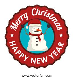 label merry christmas and new year with snowman