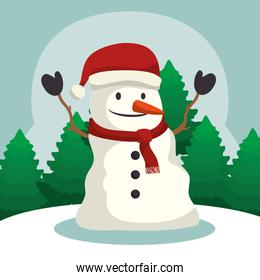 happy merry christmas snowman character