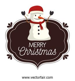 label merry christmas with snowman icon