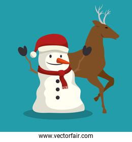happy merry christmas, cute snowman and reindeer