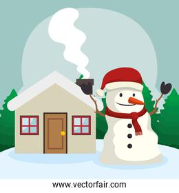 snowman with house in winter landscape