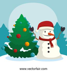 merry christmas, snowman on winter landscape