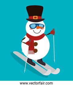 merry christmas snowman in skis