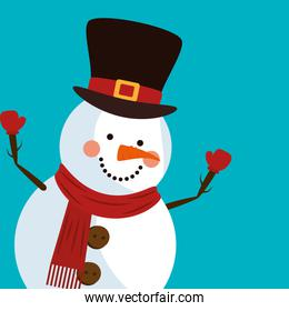 merry christmas and cute snowman