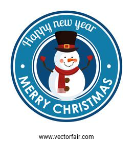 happy merry christmas label with snowman