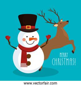 merry christmas snowman with reindeer