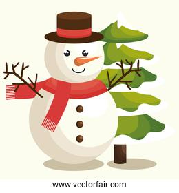 happy merry christmas snowman with pine tree