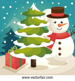 snowman with pine tree and gift boxes in snow landscape