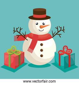 merry christmas snowman with gift boxes