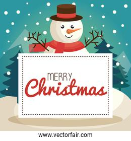 happy merry christmas banner with snowman