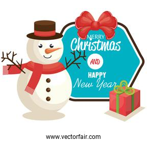 happy merry christmas and new year with snowman
