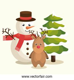 happy merry christmas, snowman, reindeer and pine tree
