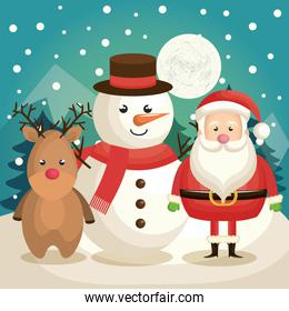 cute snowman, reindeer and santa claus in winter landscape