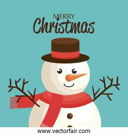 poster happy merry christmas snowman character
