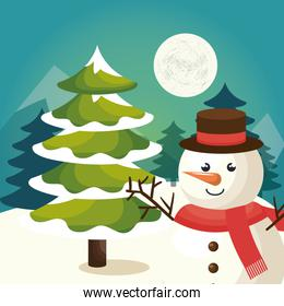 merry christmas, snowman in winter landscape
