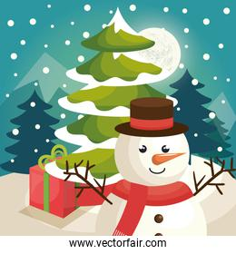 merry christmas, cute snowman in winter landscape